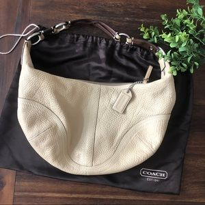 Coach Large Pebbled Tan Leather Hobo Bag